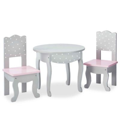 baby table and chairs bedroom chair slipcovers olivia s little world doll furniture 18 inch dots set in pink grey