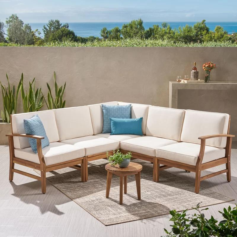 Mistana Antonia Teak Patio Sectional With Cushions Reviews Wayfair Teak Patio Furniture Patio Sectional Resin Patio Furniture