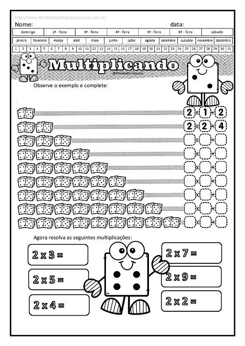 Multiplicacao Inicial 2 Com Desenhos Atividades De Matematica
