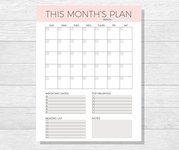 photo relating to Monthly Organizer called Undated Month to month Planner Printable - Month to month Calendar