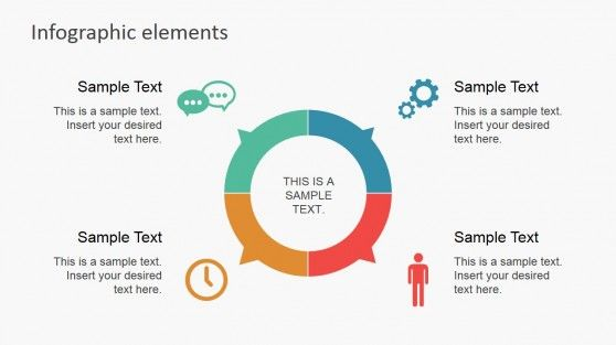 Data Infographic Flat Elements for PowerPoint Donut chart - waterfall chart