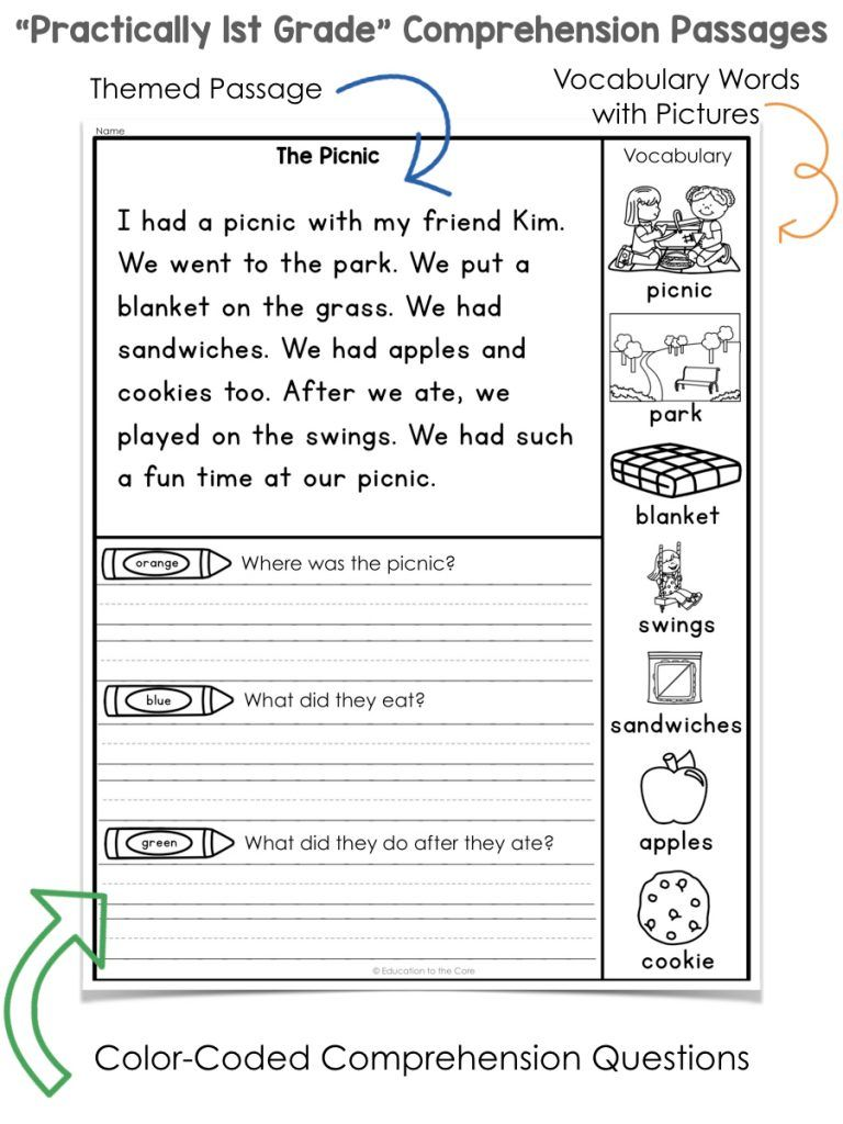 small resolution of Practically 1st Grade\ Reading Comprehension Passages and Questions    Education to the Core   1st grade reading worksheets