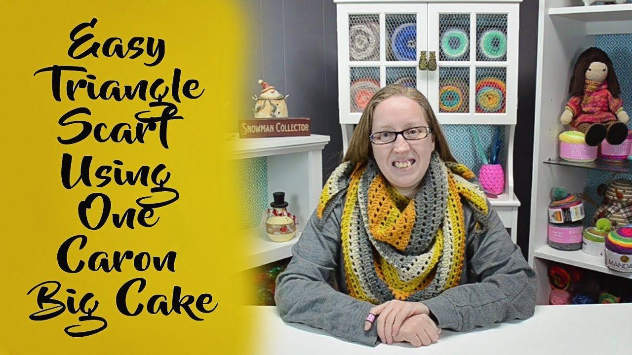 Easy Triangle Scarf Using One Caron Big Cake - YouTube   One