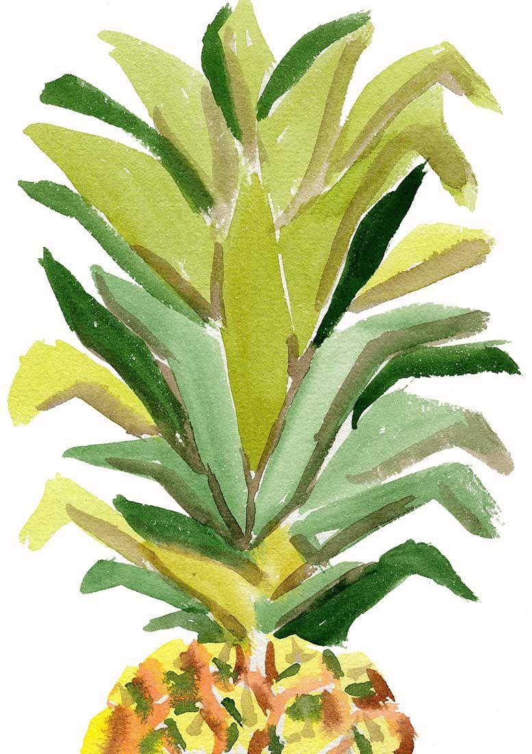Pineapple Watercolor Art Print, Tropical Decor, Pineapple Painting ...
