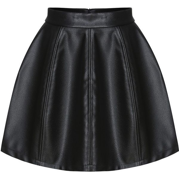 Zipper PU Flare Skirt (20 CAD) ❤ liked on Polyvore featuring skirts, black, knee length skater skirt, black body con skirt, black skater skirt, circle skirt and black bodycon skirt