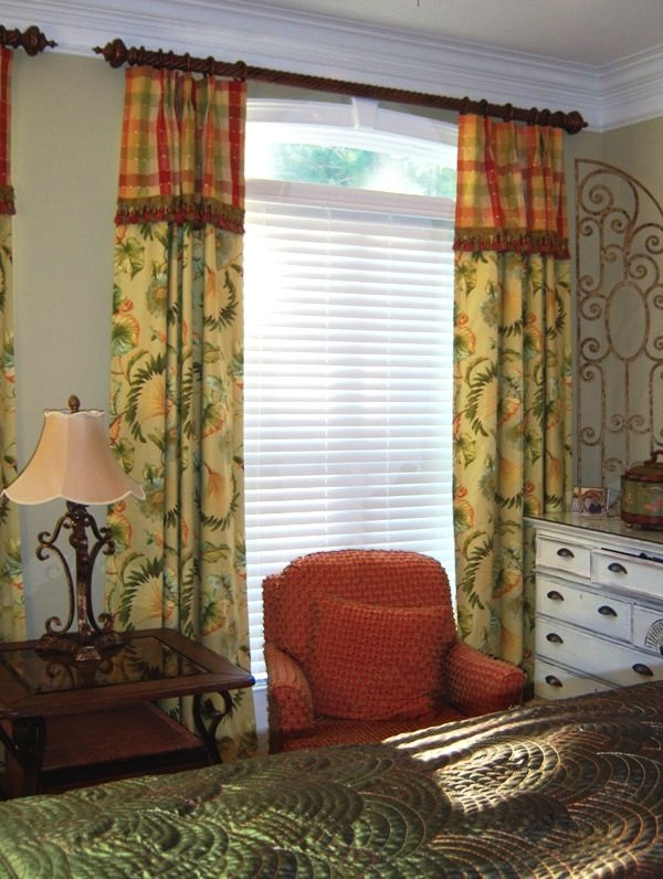 Pinch Pleated Drapery Panels With Attached Valance