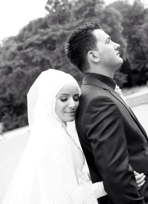"""""""They (your wives) are your garment and you are a garment for them."""" [Noble Quran 2:187] Newly Wed Muslim Couple"""