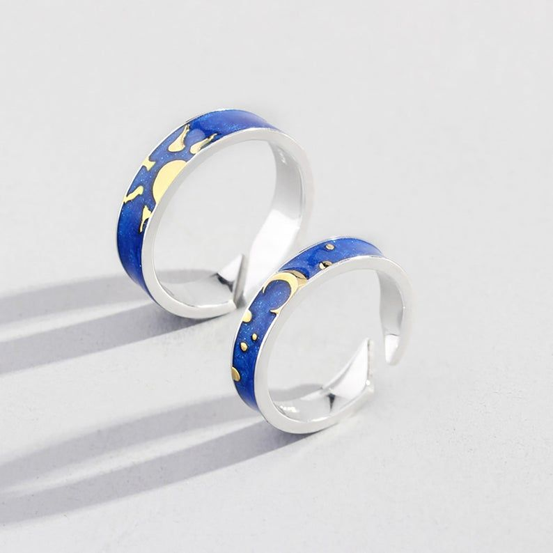 Day And Night Korean Style Personalized Statement Couple Rings