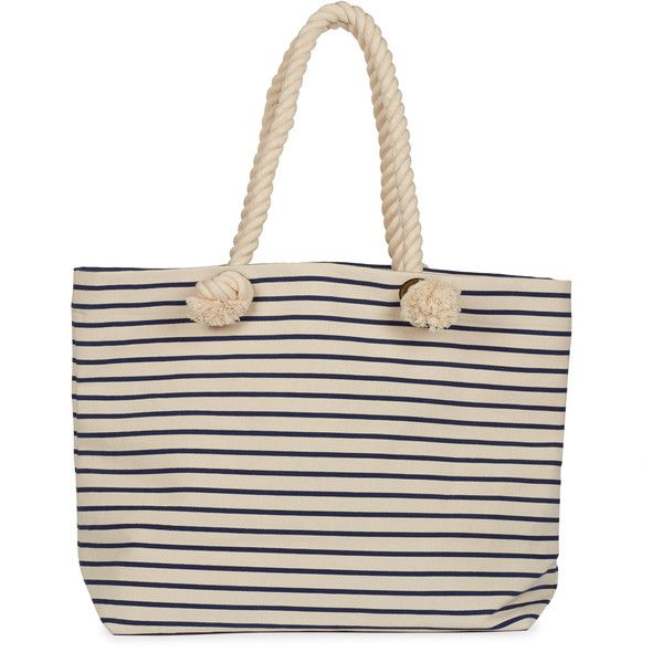 Perfect Canvas Beach Tote (€98) ❤ liked on Polyvore featuring bags, handbags, tote bags, navy stripe, pink canvas tote, striped canvas tote, striped totes, pink beach tote and canvas totes