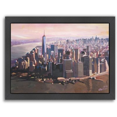 "East Urban Home 'Manhattan Freedom' by M Bleichner Framed Original Painting Size: 20.5"" H x 26.5"" W x 1.5"" D"