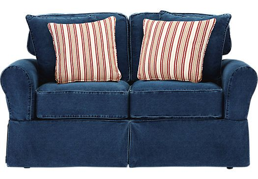 Best Cindy Crawford Home Beachside Blue Denim Sofa Cindy 400 x 300
