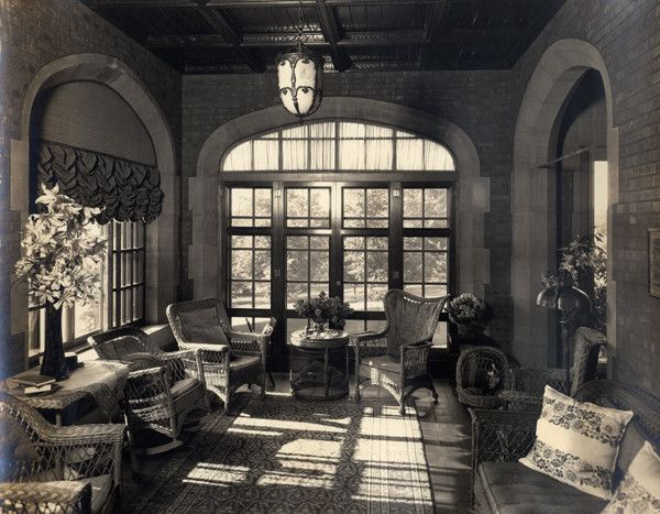Title Sunroom At Glenallen 1915 1945 With Dog Subject Glenallen Cleveland Heights Ohio Sunspaces Dogs Wicker Furni Cleveland Heights Sunroom Cleveland