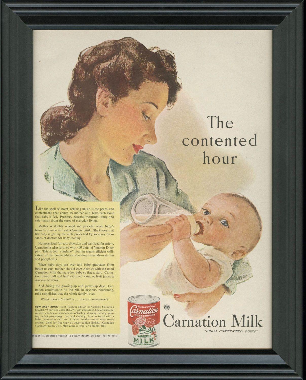 1946 Framed Carnation Milk Vintage Ad 1940s Illustrated Print Advertisement Mother Feeding Baby Art Nursery D Vintage Ads Baby Ads Vintage Advertisements