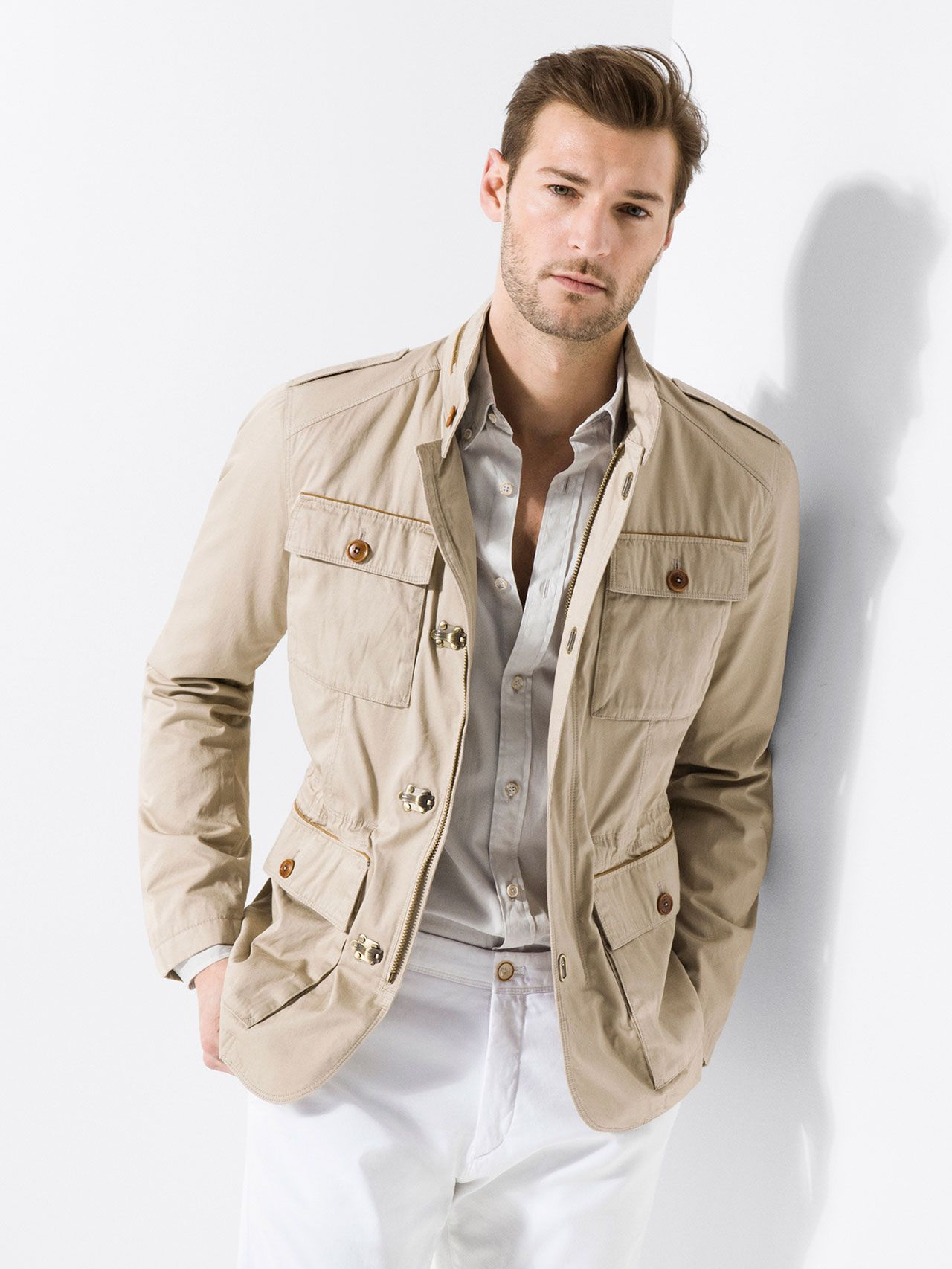 Mens khaki jacket casual - Textured Weave Cotton Safari Jacket Men Massimo Dutti Dan Murphy