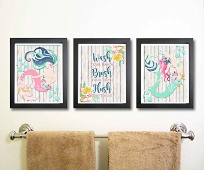 Beautiful Mermaid Bathroom Wall Art Decor Set of Three NEW  #fashion #home #garden #homedcor #postersprints (ebay link) #mermaidbathroomdecor