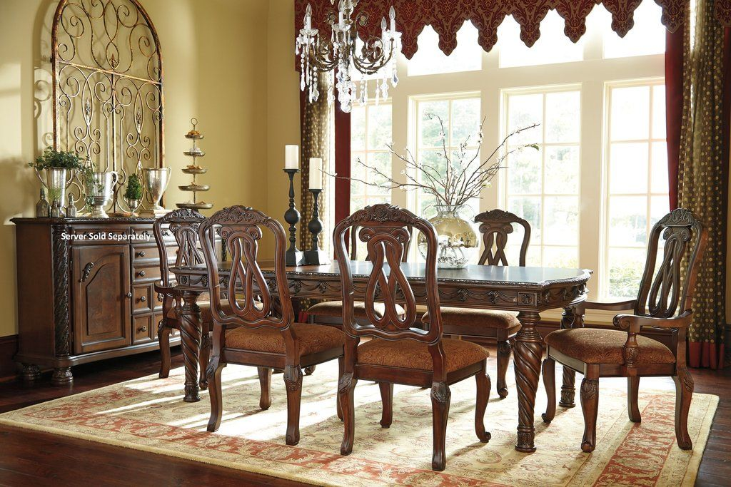 Northshore Brown Finish Dining Set Rectangle Table 4 Side Chairs 2 Arm Chairs Formal Dining Room Sets Dining Room Sets Wood Dining Room