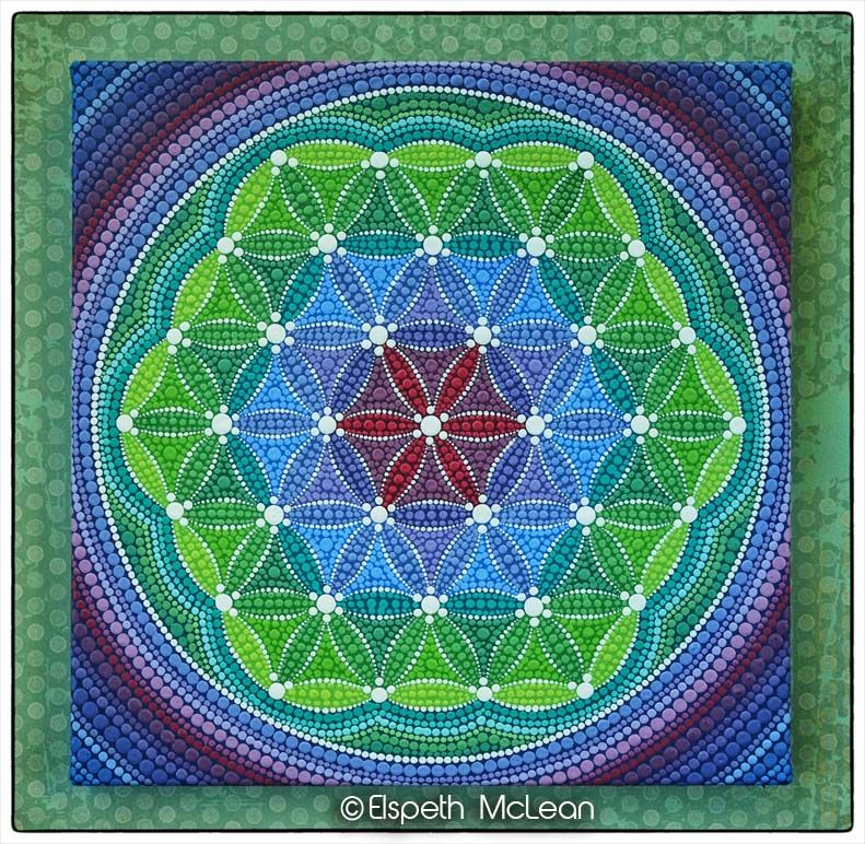 Custom flower of life by Elspeth McLean #elspethmclean #floweroflife #seedoflife #sacredgeometry #sacred #happyart #colourfulart #colorfulart