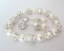 Pearl jewelry set ~ Chunky ~ Bracelet and earring set ~ Swarovski pearls and crystals ~ Sterling silver posts, Brides jewelry set ~