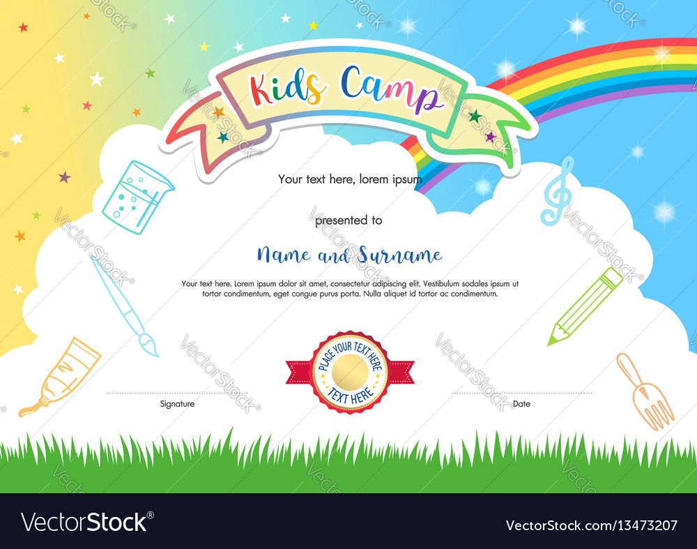 Colorful kids summer camp diploma certificate template in cartoon summer camp diploma certificate template in cartoon style with sky rainbow and kids elements in the background download a free preview or high quality yelopaper Choice Image