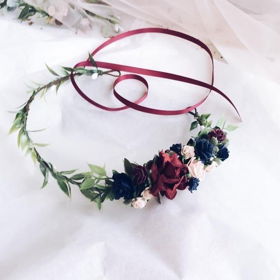 Navy and maroon floral headband cd99b1e30fe