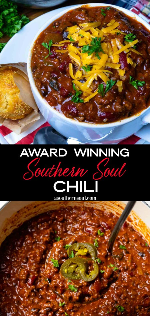 Award-Winning Chili made with beef and beans in a rich sauce is loaded with amazing flavor! Perfect for tailgating, game day, or when you're feeding a crowd. Simmered for hours, it's comfort food at it's BEST.