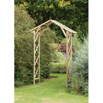 Forest Rustic Rose Garden Arch Trellis Lattice Sides and Roof