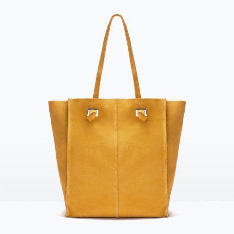 01a6b91296b Zara | Suede shopper bag | Mustard | ACCESSORIES | Shopper bag, Bags ...