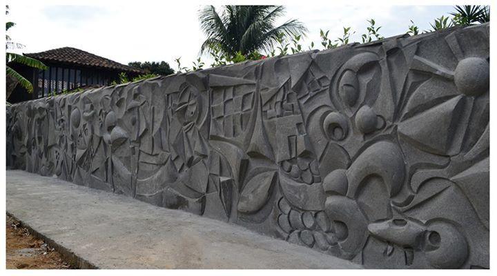 Muro com arte em concreto