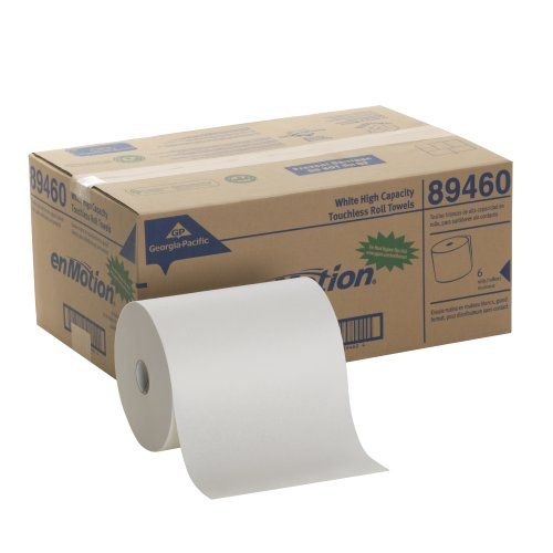 Georgiapacific Enmotion 89460 800 Length X 10 Width White High Capacity Touchless Roll Towel Roll Of 6 How To Roll Towels Georgia Pacific Paper Towel Rolls