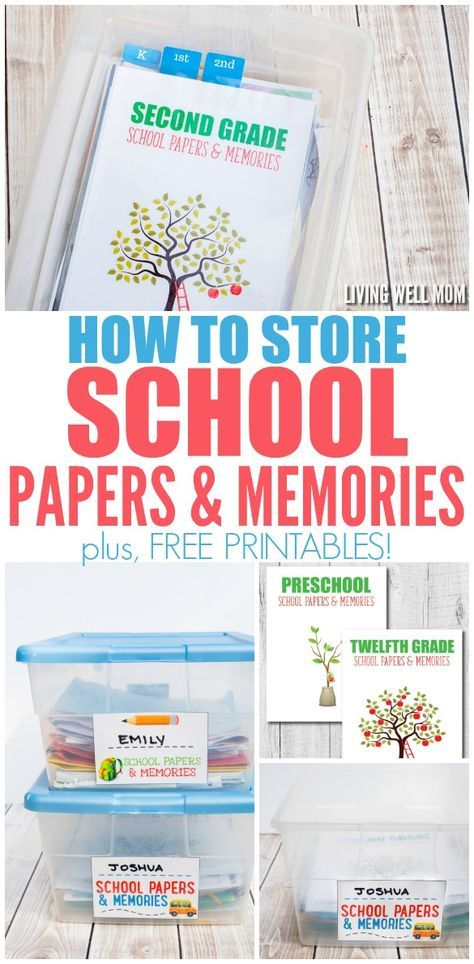 How to Store School Papers & Memories (Free Printables) is part of School Organization Papers - Need a better way to store your kids' school memories  Here's an inexpensive, simple way to organize and store school papers & memories with FREE printables!