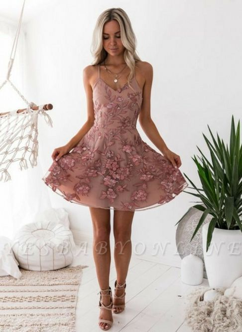 A-Line Pink Floral Homecoming Dresses | Spaghetti Straps Lace Appliques Cocktail Dresses #cocktaildress