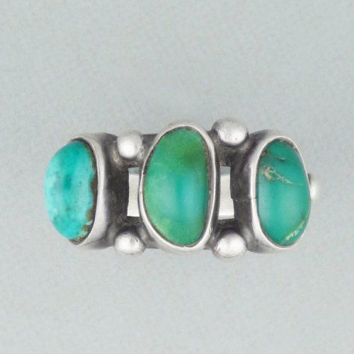 Silver ring with three turquoise cabochons, c. 1930