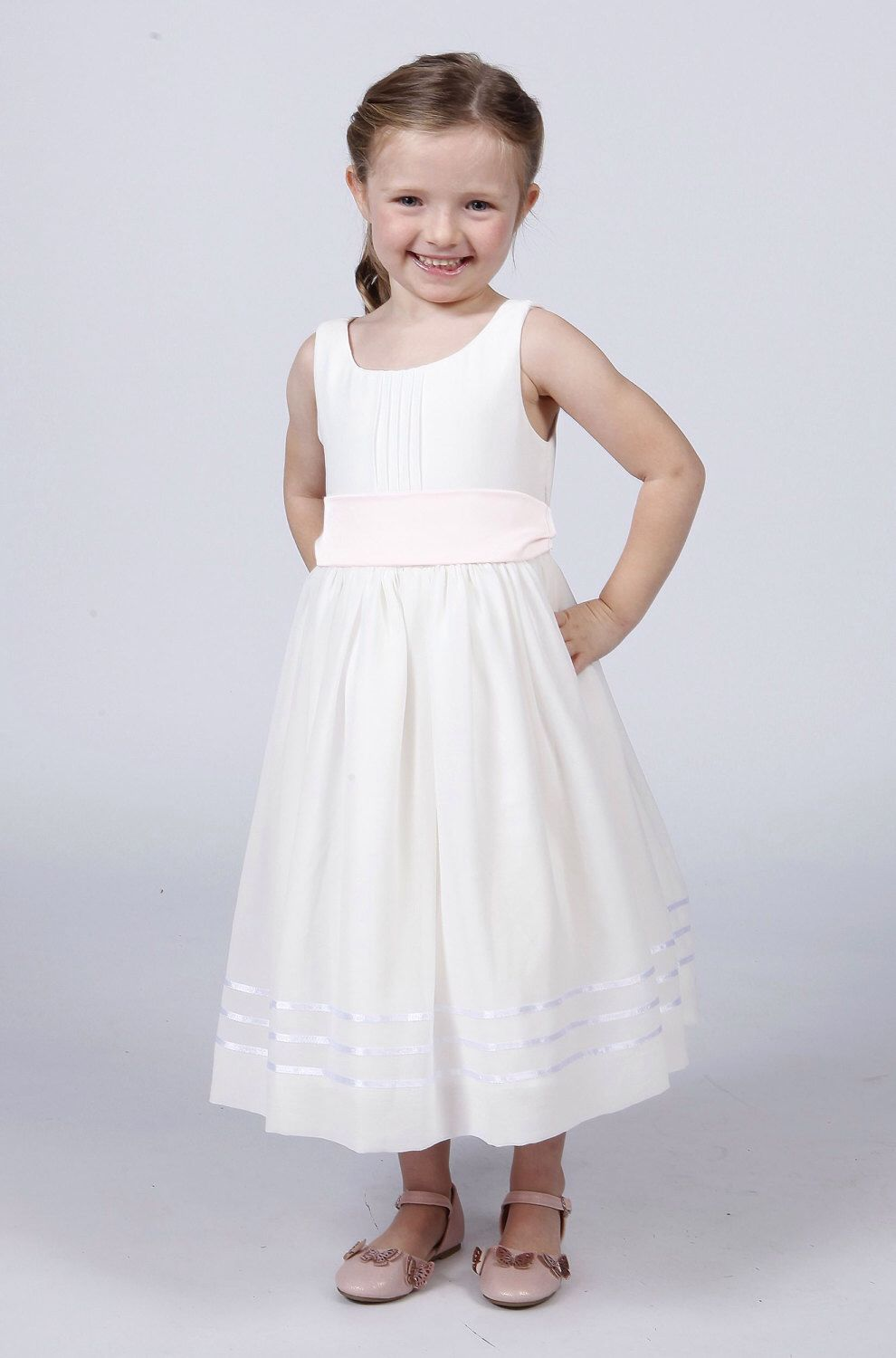 Matchimony White Flower Girl Dress With Sash In Different Colours To