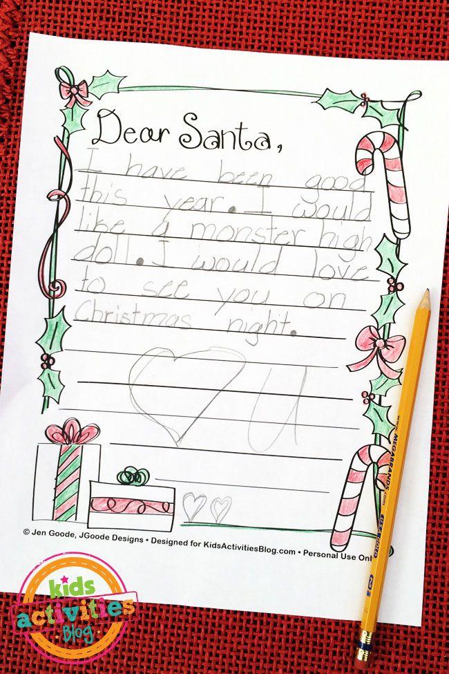 Letter to Santa Free Kids Printable Santa letter