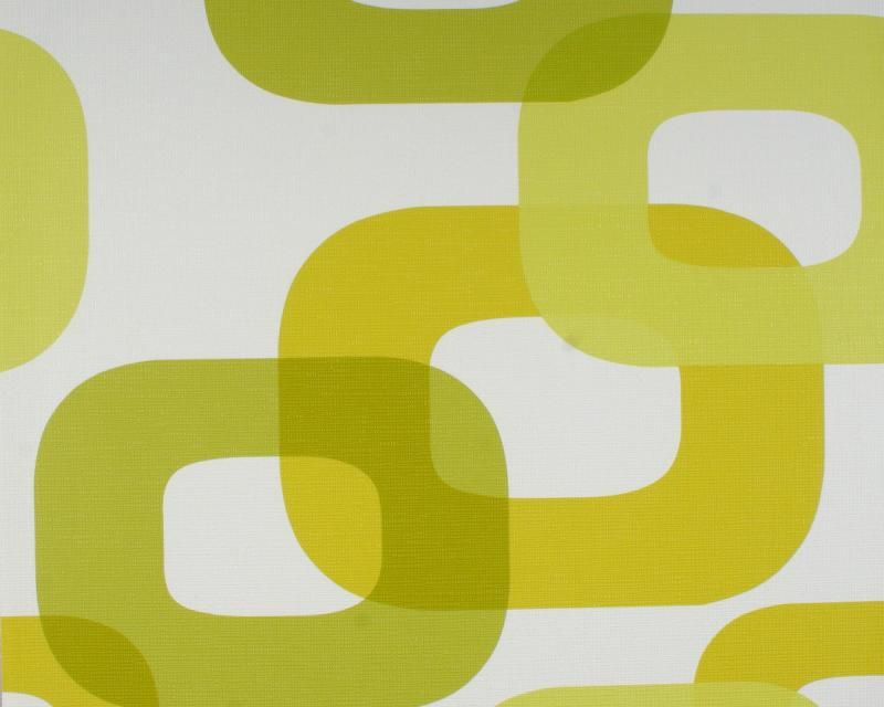 retro behang the 70's groen wit 745 - woonkamer | pinterest, Deco ideeën