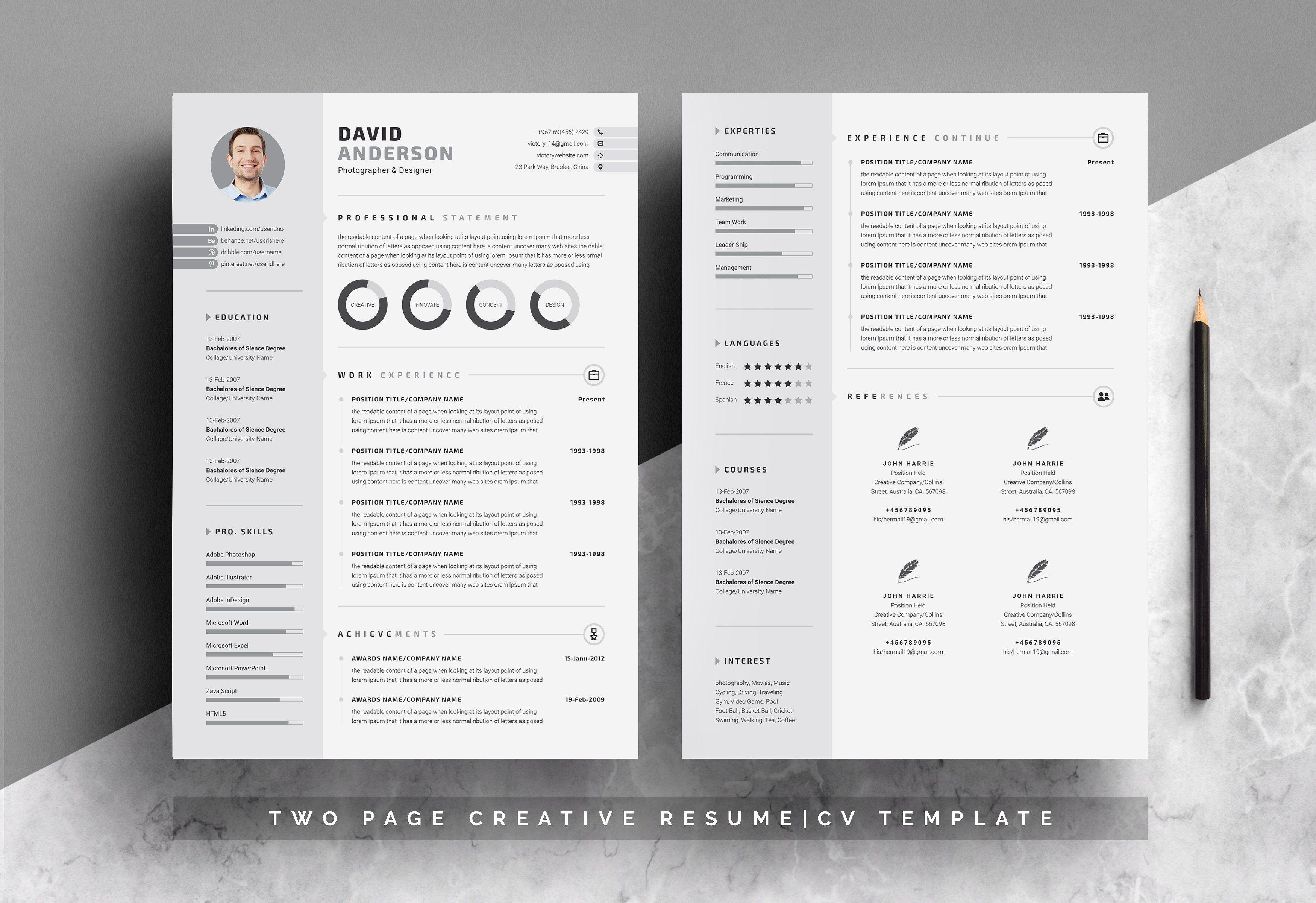 Creative Resume Cv Word Template Cv Template Creative Resume