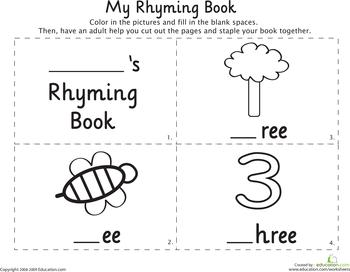 My Rhyming Book: -Ee | Education | Rhyming words, Rhyming worksheet ...