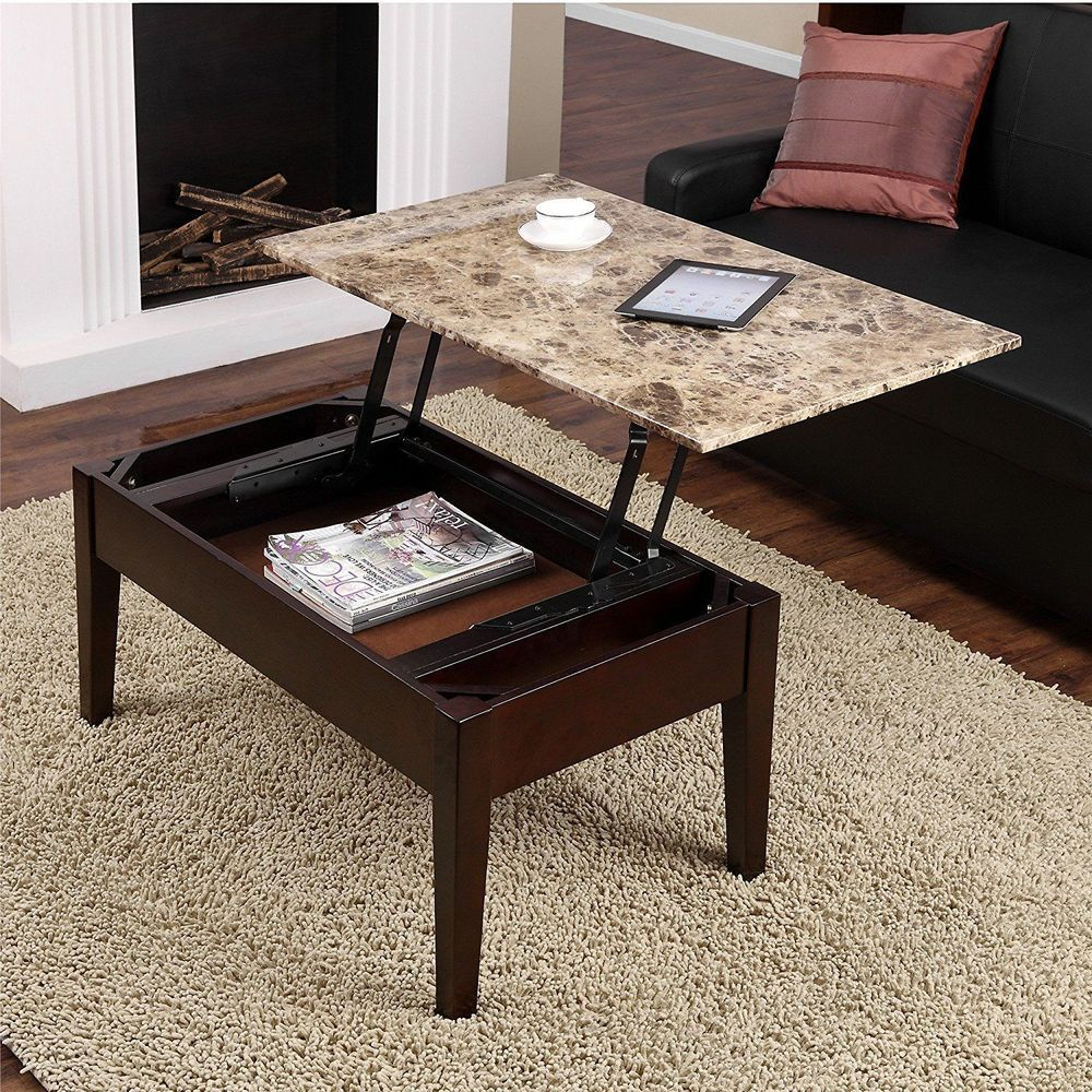 Faux marble lift top coffee table espresso brown wood hidden faux marble lift top coffee table espresso brown wood hidden storage living room geotapseo Images