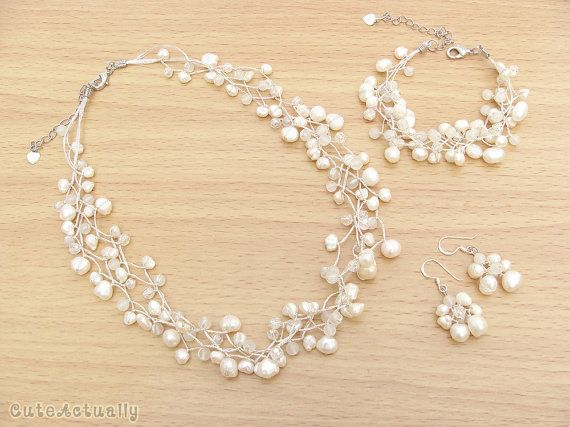 Jewelry set - White freshwater pearl necklace, Bracelet, Earring, Bridal jewelry, Wedding jewelry set, Bridesmaid jewelry, Wedding jewelry via Etsy