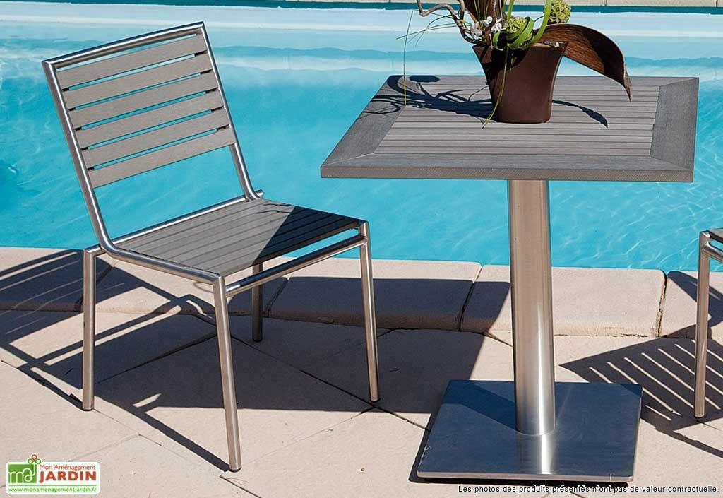 Chaise Inox et Composite Brick | MOBILIER de JARDIN | Mobilier ...