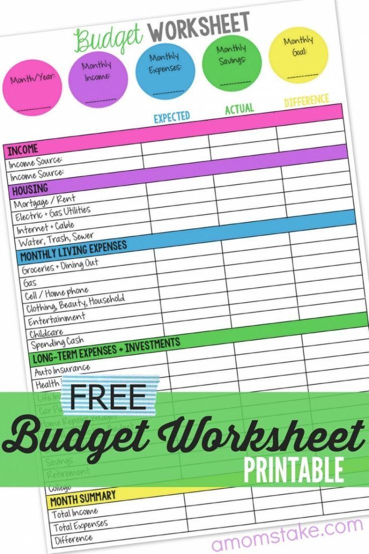 Monthly Budget Worksheet Free Printable Budgeting