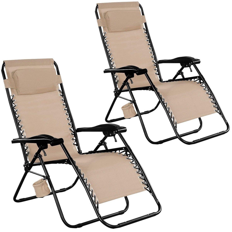 Goplus 2pc Zero Gravity Chairs Lounge Patio Folding