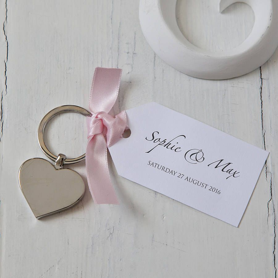 Heart Keyring And Personalised Tag Favours | Favors, Wedding and ...