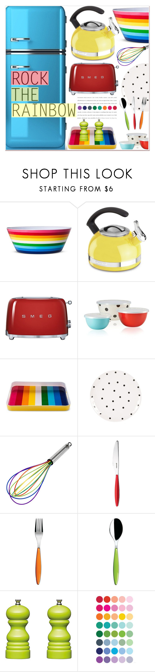 """""""Rock The Rainbow"""" by chloe ❤ liked on Polyvore featuring interior, interiors, interior design, home, home decor, interior decorating, KitchenAid, Smeg, Kate Spade and Fitz and Floyd"""