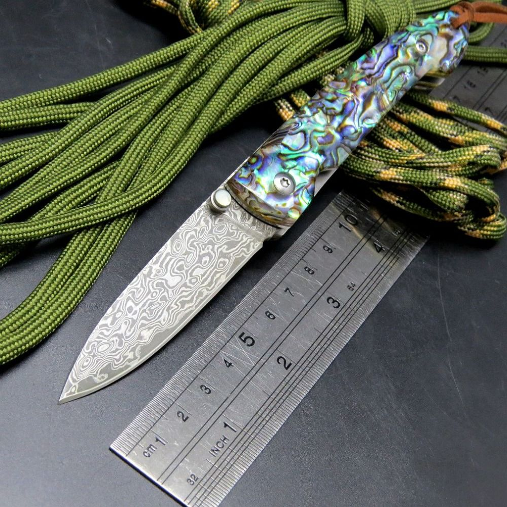 Hot Folding Blade Knives EF83 Damascus Steel Colorful Handle Camping ...