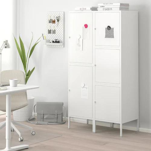 HÄLLAN Storage combination with doors, white, 35 3/8x18 1