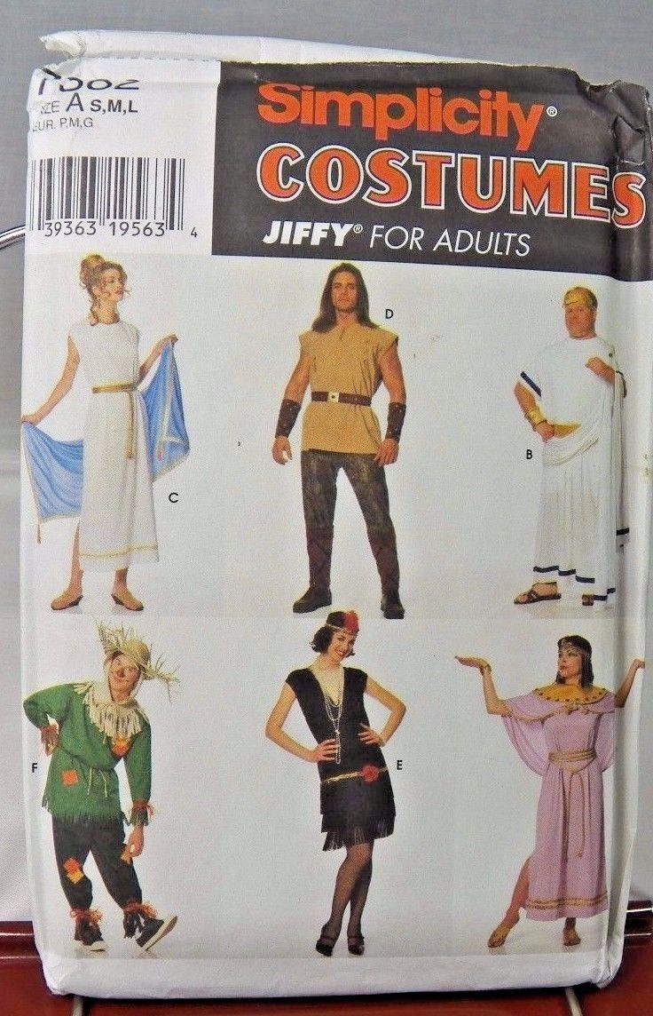 Costumes Simplicity 7382 Pattern Jiffy Adult Size A SML 1996 Scarecrow Flapper | eBay