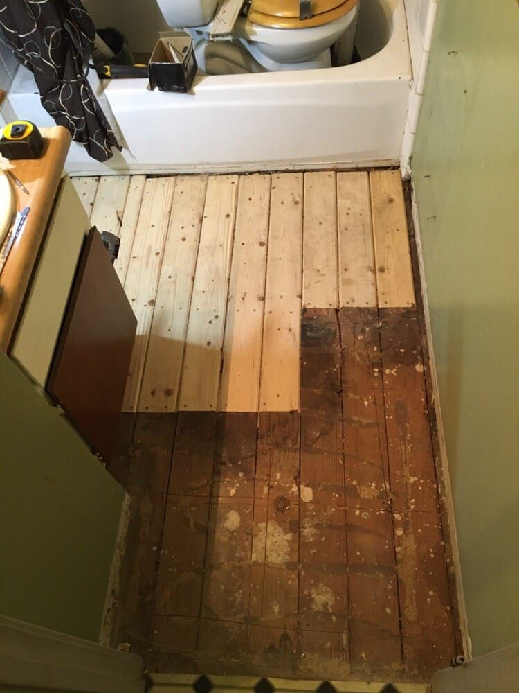 Repair Dry Rot In The Floor Around Toilet Because Of Leaky Toilet