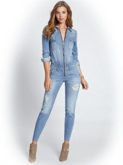 GUESS Women's Long-Sleeve Denim Jumpsuit in Canyon Indigo Wash ...