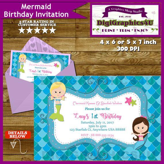 Little Girls Mermaid Birthday Party Invitation By DigiGraphics4u Etsy